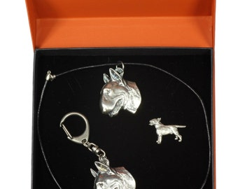 NEW, Bull Terrier, dog keyring, necklace and pin in casket, PRESTIGE set, limited edition, ArtDog . Dog keyring for dog lovers