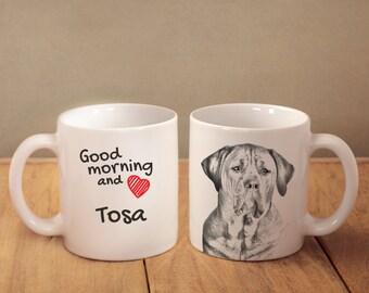 "Tosa - a mug with a dog. ""Good morning and love..."". High quality ceramic mug. NEW COLLECTION! Dog Lover Gift, Christmas Gift"