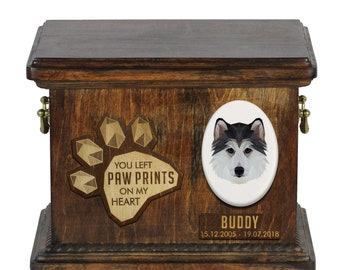 Urn for dog ashes with ceramic plate and sentence - Geometric Siberian Husky, ART-DOG. Cremation box, Custom urn.