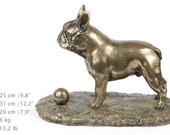 French bulldog (with ball), exclusive dog on base statue, limited edition, ArtDog