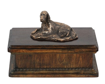Exclusive Urn for dog's ashes with a Setter lying statue, ART-DOG. New model Cremation box, Custom urn.