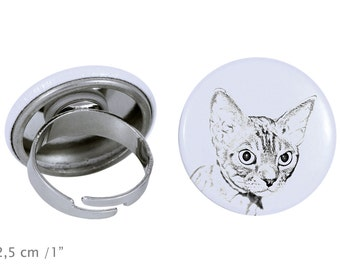 Ring with a cat -Devon rex