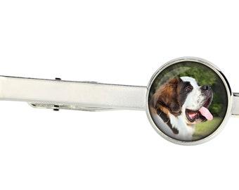 St. Bernard. Tie clip for dog lovers. Photo jewellery. Men's jewellery. Handmade