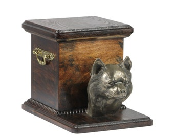 Urn for dog's ashes with a standing statue -Chihuahua, ART-DOG Cremation box, Custom urn.