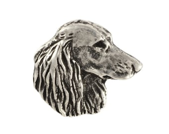 Teckel/Dachshund longhaired head, dog pin, limited edition, ArtDog