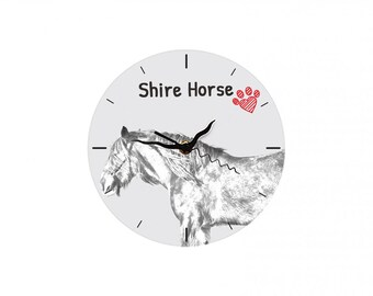 Shire horse, Free standing MDF floor clock with an image of a horse.