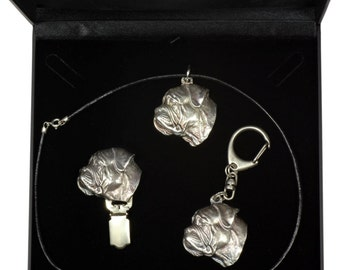 NEW, Bullmastiff, dog keyring, necklace and clipring in casket, DELUXE set, limited edition, ArtDog . Dog keyring for dog lovers