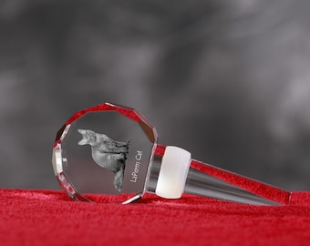 LaPerm, Crystal Wine Stopper with cat, Wine and Cat Lovers, High Quality, Exceptional Gift. New Collection