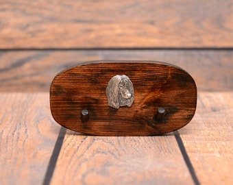Afghan Hound - Unique wooden hanger with a relief of a purebred dog. Perfect for a collar, harness or leash.