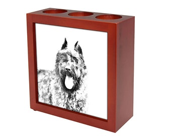 Flandres Cattle Dog - Wooden stand for candles/pens with the image of a dog ! NEW COLLECTION!