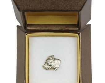 NEW, Staffordshire Bull Terrier, dog pin, in casket, limited edition, ArtDog