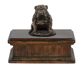Exclusive Urn for dog's ashes with a Bulldog, English Bulldog sitting statue, ART-DOG. New model Cremation box, Custom urn.
