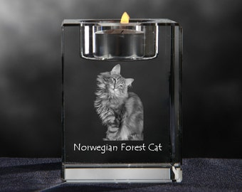 Norwegian Forest cat, crystal candlestick with cat, souvenir, decoration, limited edition, Collection