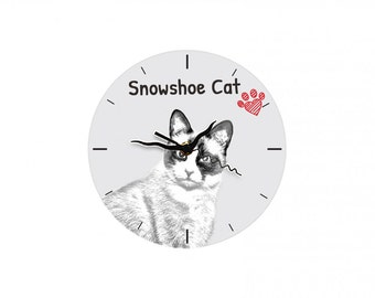 Snowshoe cat, Free standing MDF floor clock with an image of a cat.