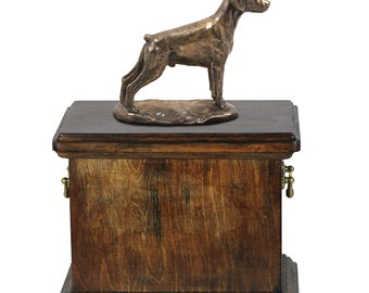 Urn for dog's ashes with a Dobermann uncropped statue, ART-DOG Cremation box, Custom urn.