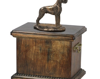Urn for dog's ashes with a Great Dane upcropped statue, ART-DOG Cremation box, Custom urn.