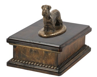 Exclusive Urn for dog's ashes with a Cesky Terrier statue, ART-DOG. New model Cremation box, Custom urn.