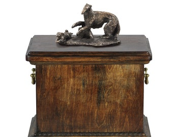 Urn for dog's ashes with a Borzoi statue, ART-DOG Cremation box, Custom urn.