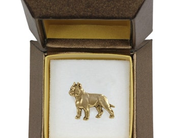 NEW, Cane Corso, Italian mastiff, dog pin, in casket, gold plated, limited edition, ArtDog