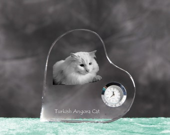 Turkish Angora- crystal clock in the shape of a heart with the image of a pure-bred cat.