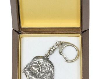 NEW, Pekingese, dog keyring, key holder, in casket, limited edition, ArtDog . Dog keyring for dog lovers