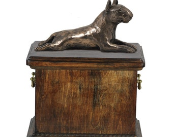 Urn for dog's ashes with a Bull Terrier lying statue, ART-DOG Cremation box, Custom urn. Cremation box, Custom urn.