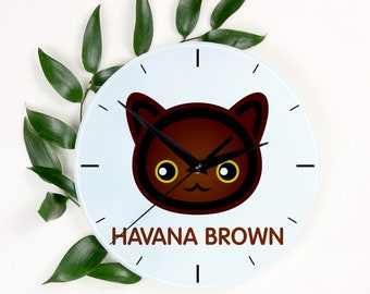 A clock with a Havana Brown cat. A new collection with the cute Art-Dog cat