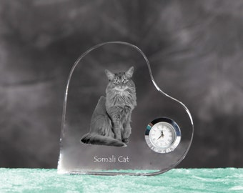 Somali cat- crystal clock in the shape of a heart with the image of a pure-bred cat.