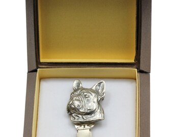 NEW, French Bulldog, dog clipring, in casket, dog show ring clip/number holder, limited edition, ArtDog