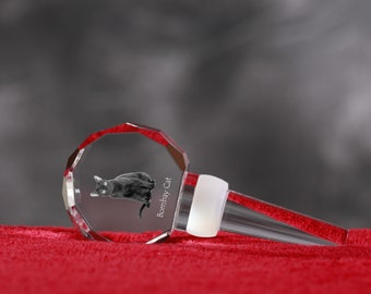 Bombay Cat, Crystal Wine Stopper with cat, Wine and Cat Lovers, High Quality, Exceptional Gift. New Collection