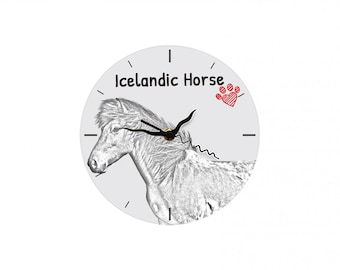 Icelandic horse, Free standing MDF floor clock with an image of a horse.