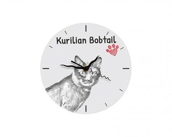 Kurilian Bobtail, Free standing MDF floor clock with an image of a cat.
