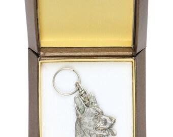 NEW, German Shepherd, dog keyring, key holder, in casket, limited edition, ArtDog . Dog keyring for dog lovers