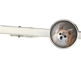 Chihuahua long haired. Tie clip for dog lovers. Photo jewellery. Men's jewellery. Handmade