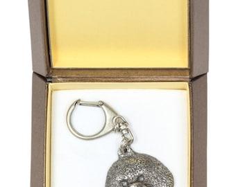 NEW, Bichon, dog keyring, key holder, in casket, limited edition, ArtDog . Dog keyring for dog lovers