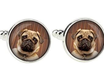 Pug. Cufflinks for dog lovers. Photo jewellery. Men's jewellery. Handmade