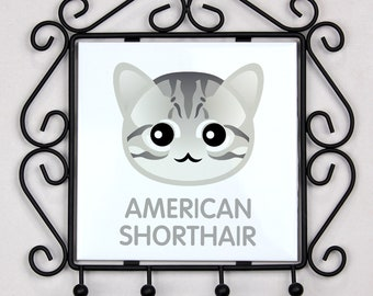 A key rack, hangers with American shorthair cat. A new collection with the cute Art-dog cat