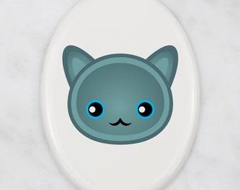 A ceramic tombstone plaque with a Russian Blue cat. Art-Dog cute cat