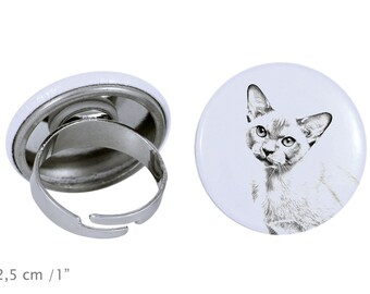 Ring with a cat -Burmese cat