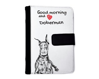 Dobermann- Notebook with the calendar of eco-leather with an image of a dog! NEW COLLECTION!
