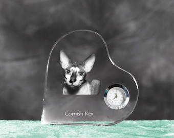 Cornish Rex- crystal clock in the shape of a heart with the image of a pure-bred cat.
