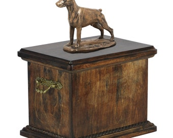 Urn for dog's ashes with a Dobermann cropped statue, ART-DOG Cremation box, Custom urn.