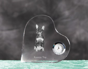 Russian Toy- crystal clock in the shape of a heart with the image of a pure-bred dog.