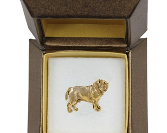 NEW, Neapolitan Mastiff, dog pin, in casket, gold plated, limited edition, ArtDog