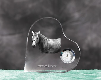 Azteca horse- crystal clock in the shape of a heart with the image of a pure-bred horse.