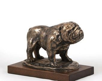 Bulldog, dog wooden base statue, limited edition, ArtDog