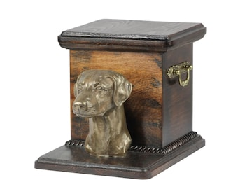 Urn for dog's ashes with a standing statue -Dobermann, ART-DOG Cremation box, Custom urn.