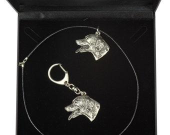 NEW, Dalmatian, dog keyring and necklace in casket, DELUXE set, limited edition, ArtDog . Dog keyring for dog lovers