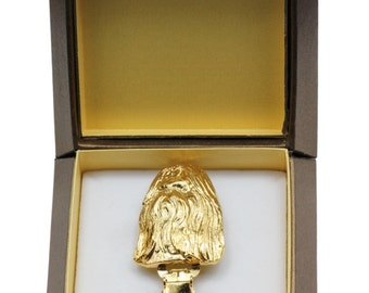 NEW, Shih Tzu, millesimal fineness 999, dog clipring, in casket, dog show ring clip/number holder, limited edition, ArtDog