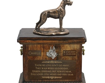 Great Dane cropped - Exclusive Urn for dog ashes with a statue, relief and inscription. ART-DOG. Cremation box, Custom urn.